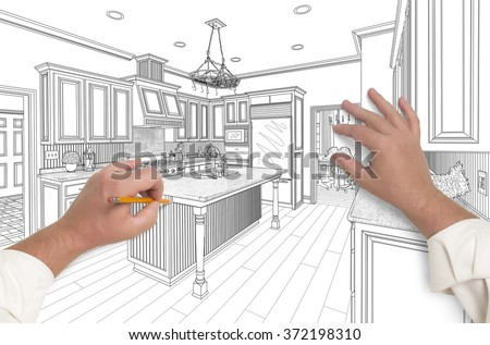 Male Hands Sketching with Pencil the Outline of a Beautiful Custom Kitchen. - stock photo