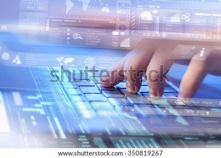 Male hands typing on keyboard over digital background