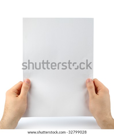 Male hands with clean sheet of paper isolated with clipping path over white