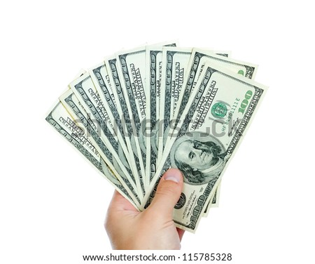 male hands with dollars isolated on a white background - stock photo