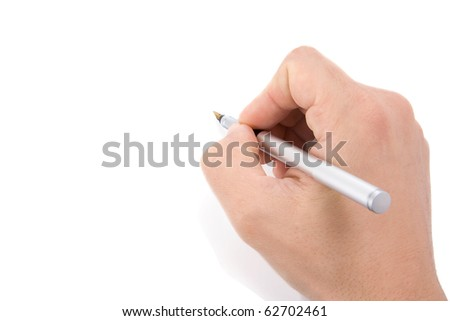 male hands with pen on white background - stock photo