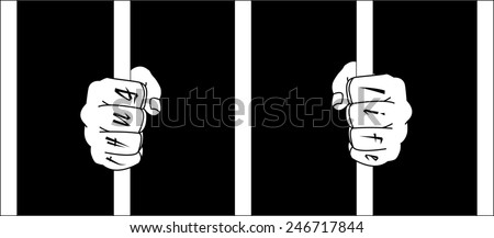 Male hands with Thug Life tattoo holding prison bars. Black and white raster illustration  - stock photo