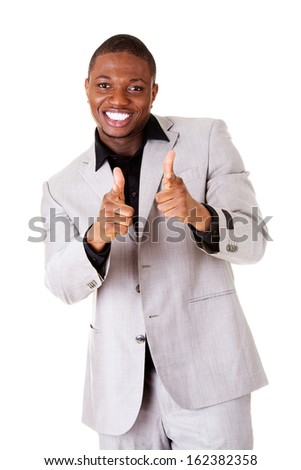 Male handsome businessman pointing on front. Smiling. Isolated on white.  - stock photo