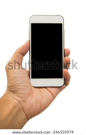 Male have holding smartphone on white background.