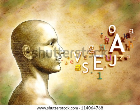 Male head with alphabet letters coming out from his mouth. Digital illustration. - stock photo