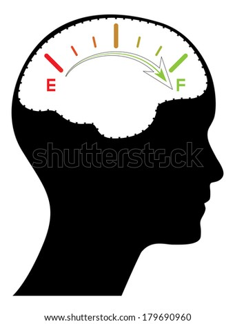 Male head with colorful gauge, creative business concept illustration, raster version. - stock photo
