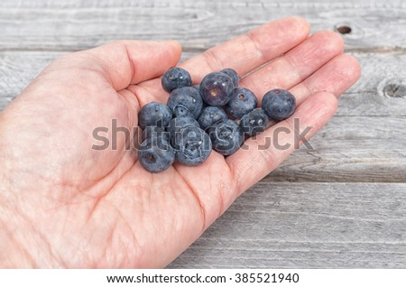 Male holding  a bunch of blackberries against a wooden table - stock photo