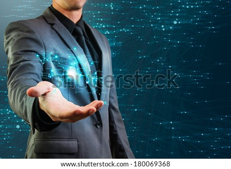male holding network structure - stock photo