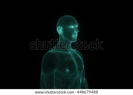 Male Human 3D Wireframe Hologram in Motion. Nice 3D Rendering