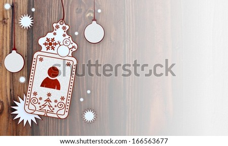 male, illustration of a christmas card with man sign in front of a wooden background with gradient to white