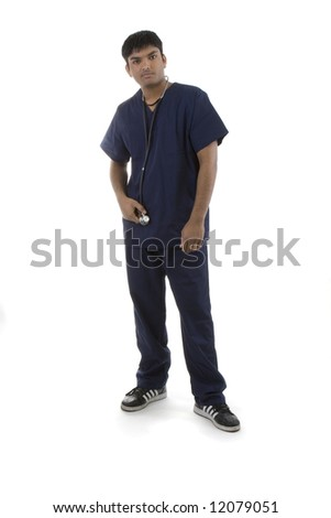 Male in Scrubs over a white background