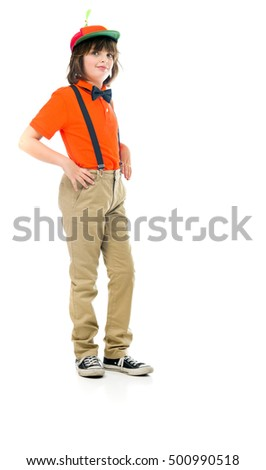 male kid child model isolated white background