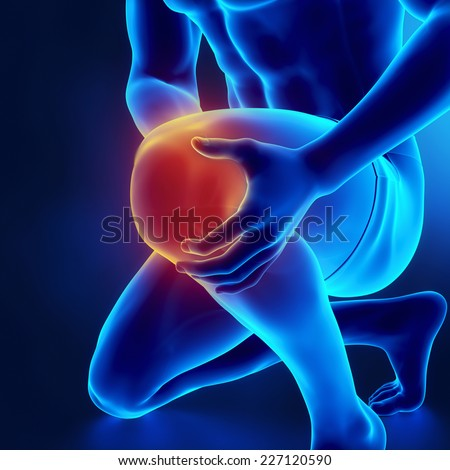 Male knee injured and sprained - stock photo