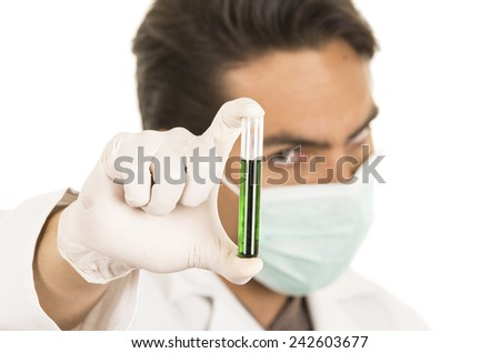 male lab researcher technician scientist doctor holding test tube isolated on white