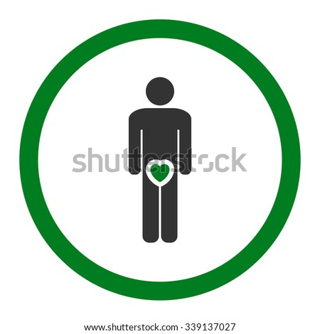 Male Love glyph icon. Style is bicolor flat rounded symbol, green and gray colors, rounded angles, white background.