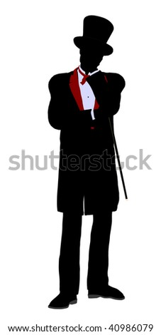 Male Magician silhouette illustration on a white background