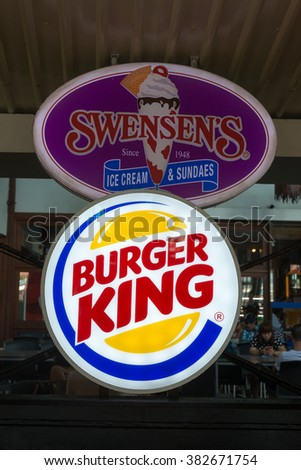 Male,Maldives - February 19, 2016 : Symbol of burger king in male airport, maldives