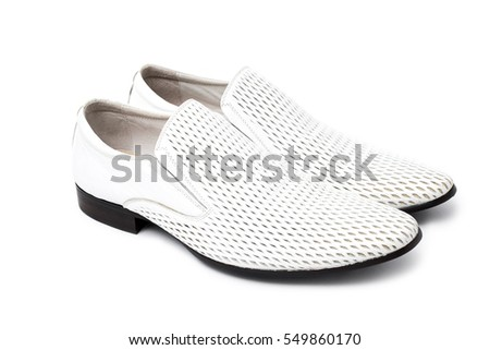 Male man white fashion casual shoes on white background isolated