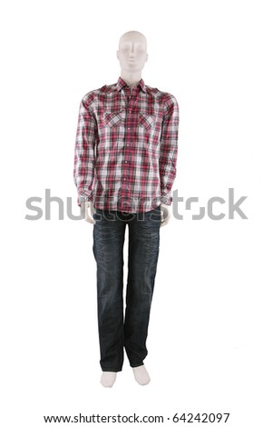 Male mannequin dressed in shirt and jeans and isolated on white - stock photo
