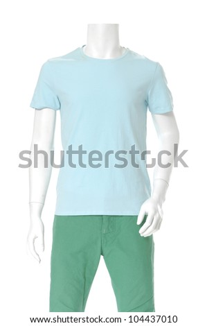 male mannequin dressed in t- blue shirt