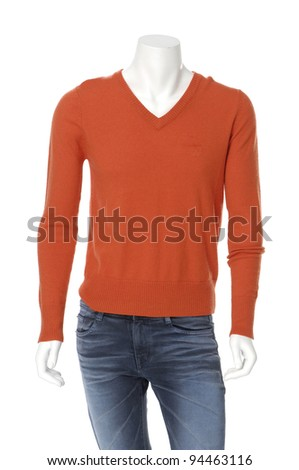 male mannequin in jeans on white background