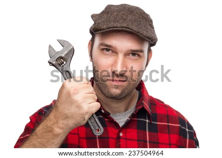 Male Mechanic Holding A Wrench Isolated On White Background - stock photo