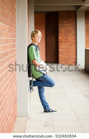 male middle school student in school - stock photo