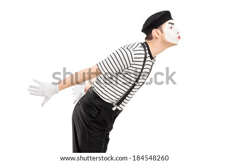 Male mime artist gesture kissing isolated on white background - stock photo