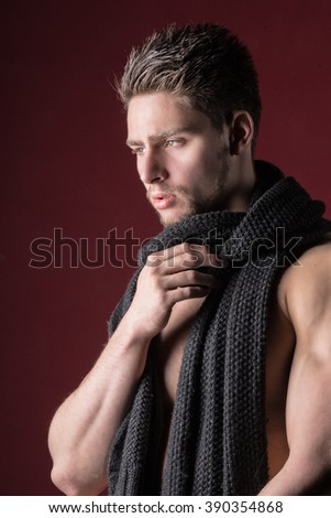 Male model - Shirtless hunk - Attractive young man - stock photo