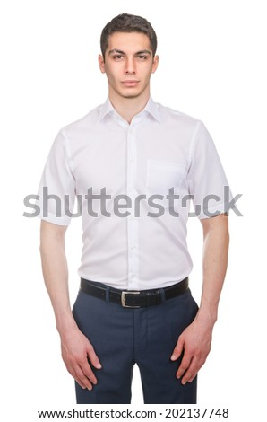 Male model with shirt isolated on white - stock photo