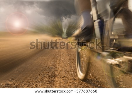 Male mountain bike rider on farmer road - stock photo