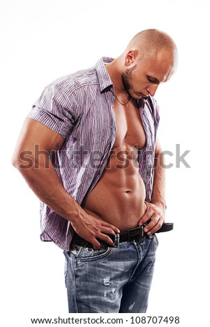 male muscular model with open shirt on a white background