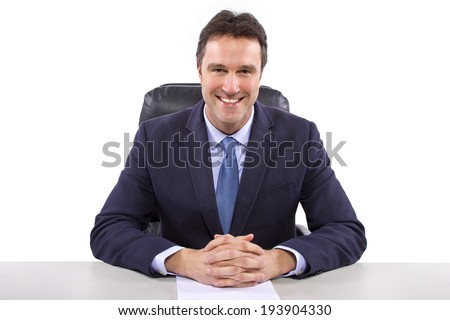 male news anchor or reporter on a white background - stock photo