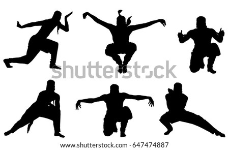 Male ninja silhouette on the white background