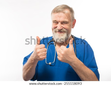 Male nurse portrait on white background