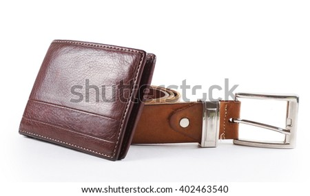 male objects. belt and the wallet - stock photo
