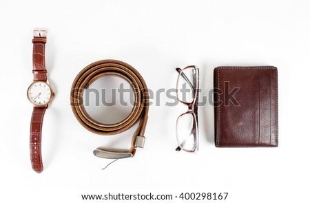 male objects. watch,belt and the wallet