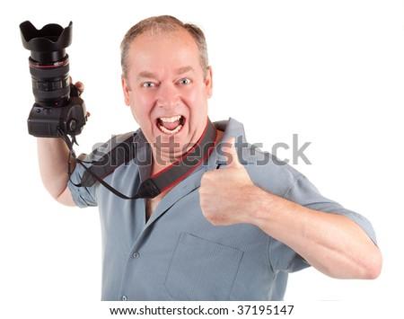 Male Photographer had a Successful Photo Shoot - stock photo