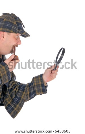 Male police officer dressed up as   detective Sherlock Holmes investigating crime scene with magnifying glass. White background - stock photo