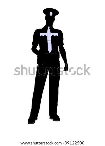 Male police officer silhouette illustration on a white background - stock photo