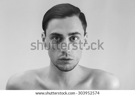 Male portrait in black and white - stock photo