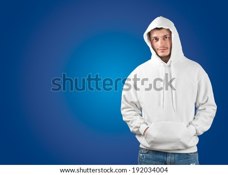 male posing with a white hoody - stock photo