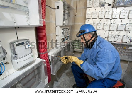 Male professional electrician - stock photo