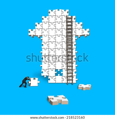 male push puzzle with arrow shape isolated on blue - stock photo