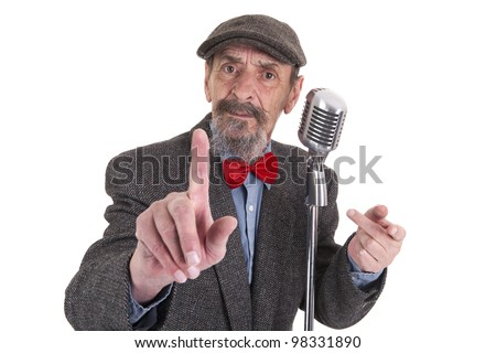 male radio host with raised finger on white background