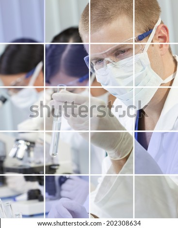 Male researcher and two female colleagues analyzing test tube sample in a medical scientific laboratory - stock photo