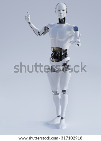 Male robot doing a presentation, image 1. Grey background.