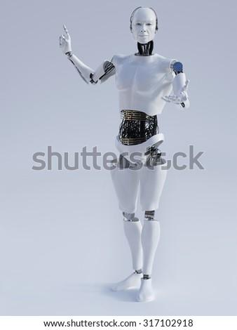 Male robot doing a presentation, image 1. Grey background. - stock photo