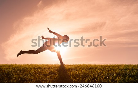 Male runner at the finish line - stock photo