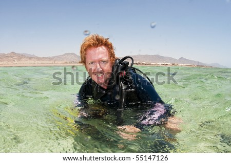 male scuba diver - stock photo